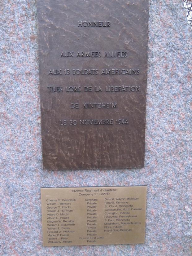 Plaque à Kintzheim en l'honneur de la libération de la ville.