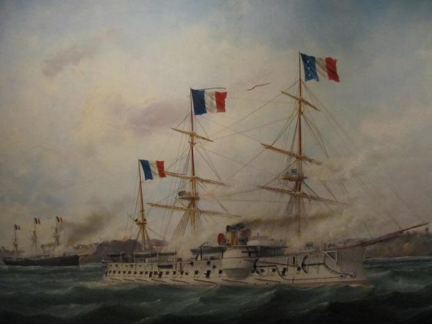 Prise de Makung, dans les Pescadores par Adam. Une autre expédition de la France alors opposée à la Chine. L'amiral Courbet s'y illustre.