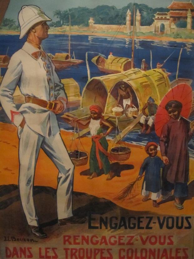 Affiche bien connue pour le recrutement dans les troupes coloniales, anciennes troupes de marine (jusqu'en 1900).