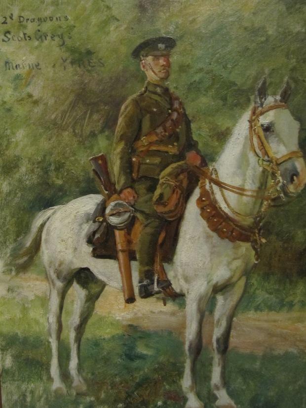 """Desvarreux, """"2n Dragoon, Scot grey"""" (Ypres). Belle participation britannique à la guerre (expo temporaire) et superbes travaux d'un peintre tombé dans l'oubli."""