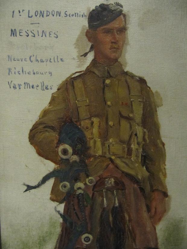 Autre peinture de Desvarreux, représentant un Bagpiper (expo temporaire)