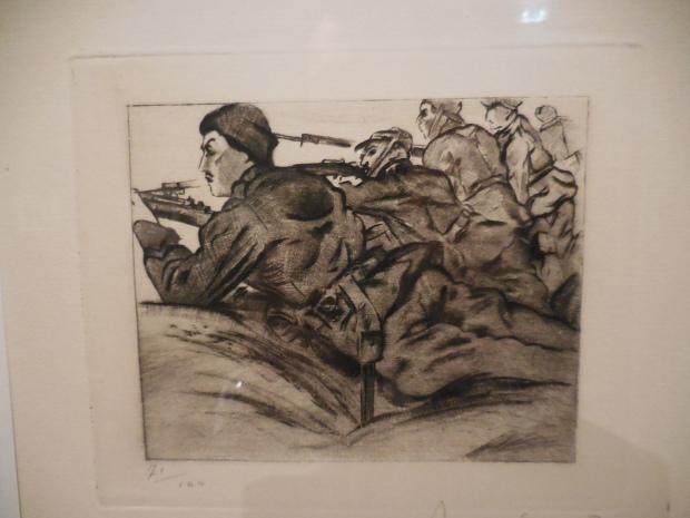 """Anselmo Bucci (peintre italien engagé volontaire), """"Nemico in vista"""" (l'ennemi est en vue)"""