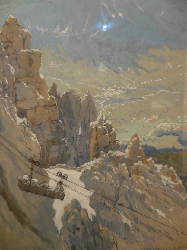 """Georges Scott [envoyé sur le front italien] ,""""Blessés descendus par le téléphérique"""", 1917. Les Italiens endurèrent une guerre terriblement dure à des milliers de mètres de hauteur."""