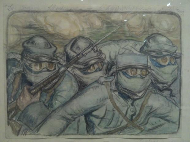 """""""La charge moderne. Champagne, septembre 1915"""" par Le Poitevin. On voit bien les masques à gaz."""