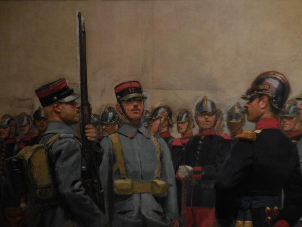 Tableau d'Edouard Detaille présentant un projet de nouvel uniforme pour l'armée française, peu avant 1914.