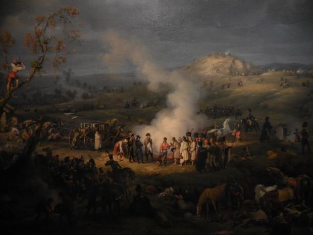 """Lejeune, """"Bivouac de Napoléon la veille de la bataille d'Austerlitz"""". Le tableau fut commandé par les services de l'Empereur pour être exposé aux Tuileries."""