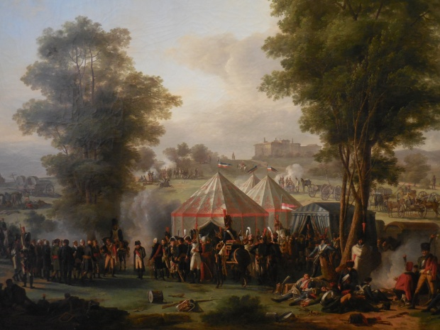 """Mongin, """"Bivouac de Napoléon près du château d'Ebersberg."""" Nous sommes durant la campagne d'Autriche de 1809, qui se conclut par la coûteuse mais décivise victoire de Wagram."""