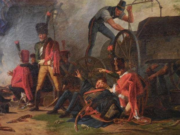 Détail très sympathique du tableau de Mongin: un soldat s'éveille.