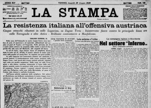 "La ""Stampa"" du 19 mai 1916. Numéros numérisés: http://www.lastampa.it/archivio-storico/"