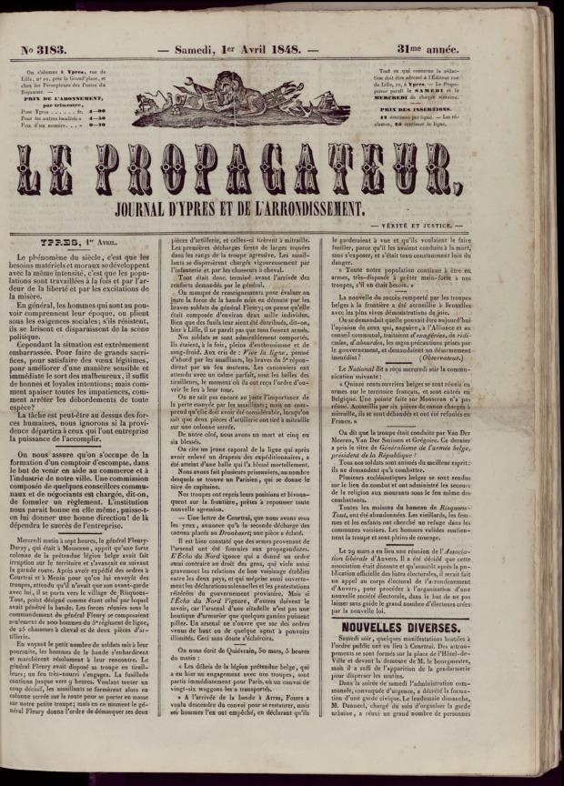 """La une du """"Propagateur"""" du 1er avril 1848, parlant des évènements. A retrouver ici: http://www.historischekranten.be/issue/PRP/1848-04-01/edition/null/page/1"""