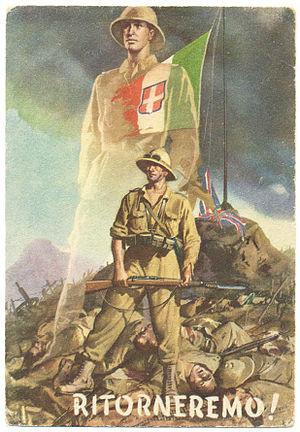 """Affiche de propagande italienne après la perte de l'Afrique: """"Nous reviendrons"""" affirme-t-elle de manière très présomptueuse."""