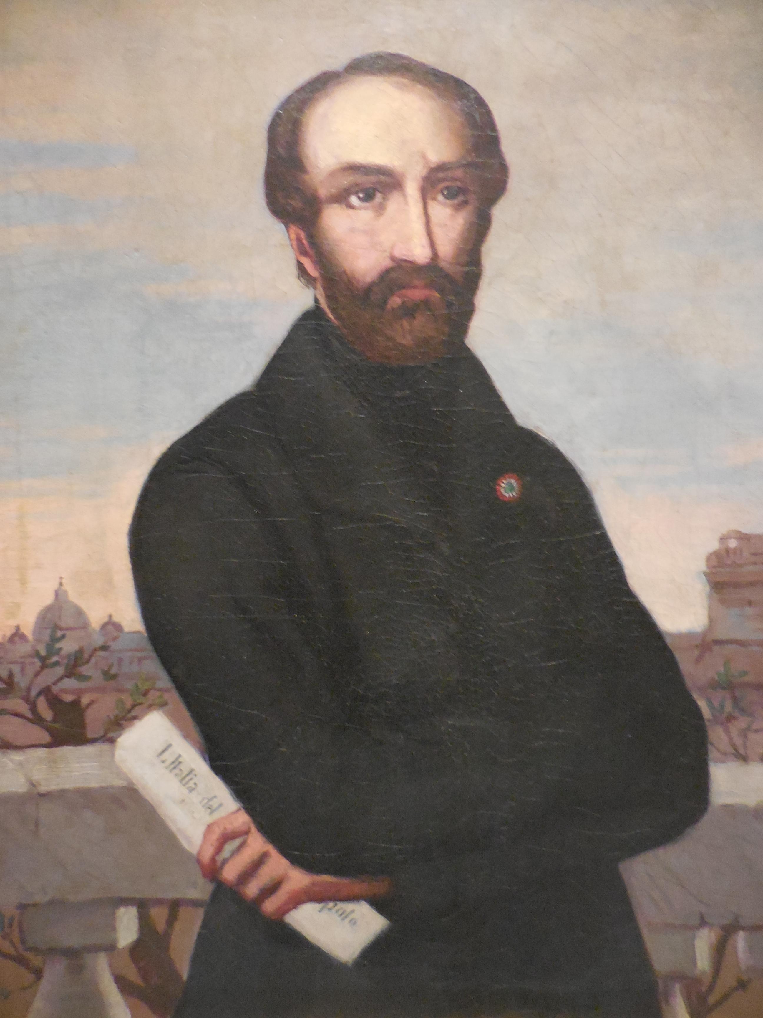 Portrait du révolutionnaire italien Mazzini pendant la République romaine de 1849. Conservé au Museo Centrale del Risorgimento, il est tiré d'une oeuvre d'Emily Ashurst Hawkes.  Photo de l'auteur (12 avril 2017)